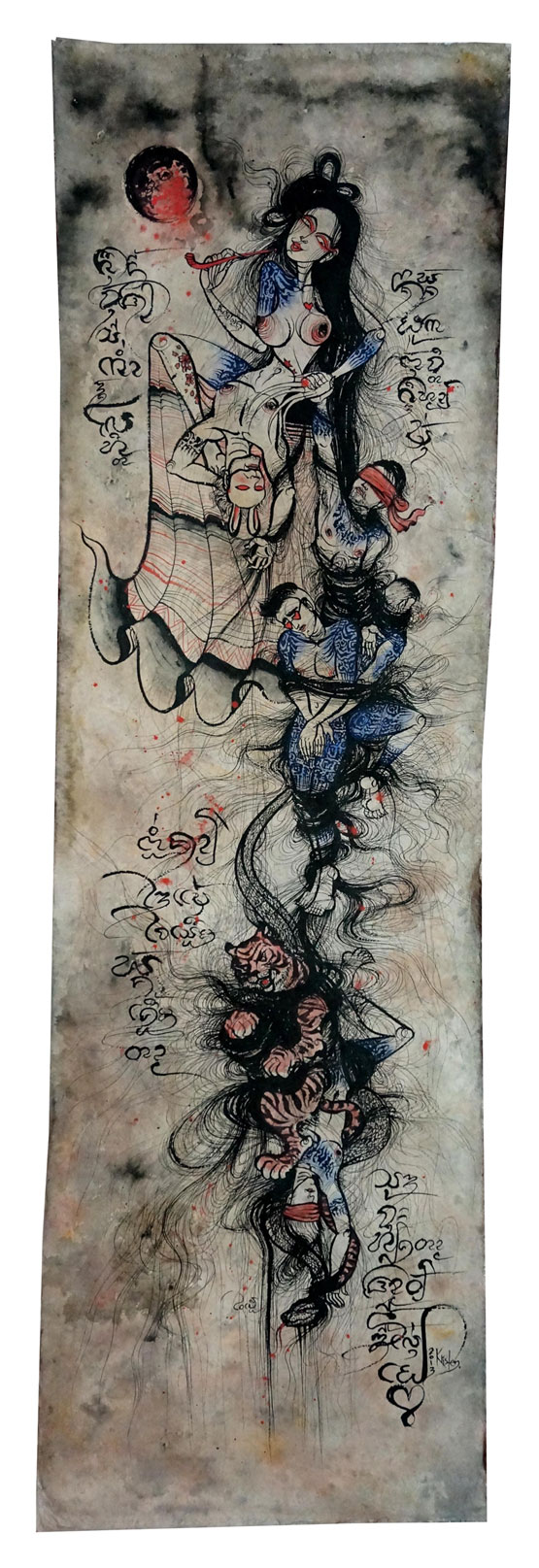 Tangle Song, 2013 Tempera and gold leaf on Sa paper, 50 x 190 cm